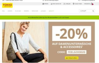 Screenshot TAKKO Textildiscounter Website